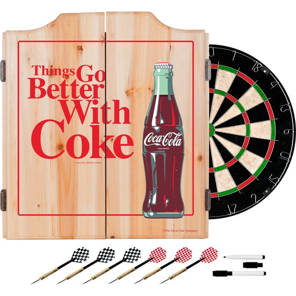 Coca Cola Dart Cabinet Set with Darts and Board - Better with Coke