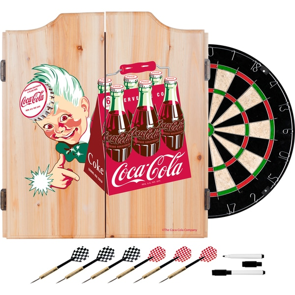 Coca Cola Dart Cabinet Set with Darts and Board - Classic 6 Pack