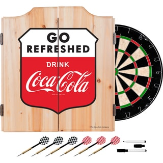 Coca Cola Dart Cabinet Set with Darts and Board - Go Refreshed