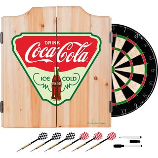 Coca Cola Dart Cabinet Set with Darts and Board - Ice Cold
