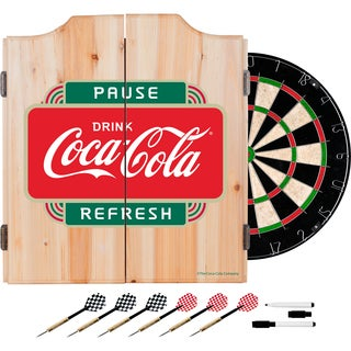 Coca Cola Dart Cabinet Set with Darts and Board - Pause Refresh