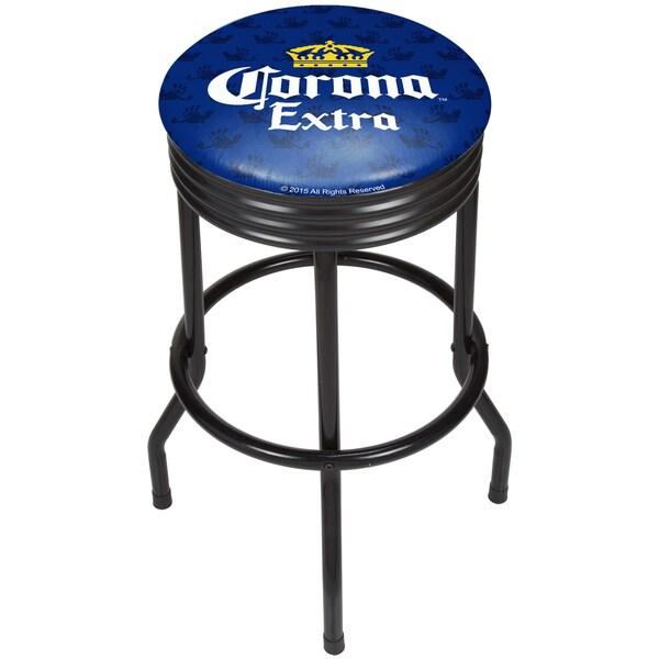 Corona Black Ribbed Bar Stool - Griffin