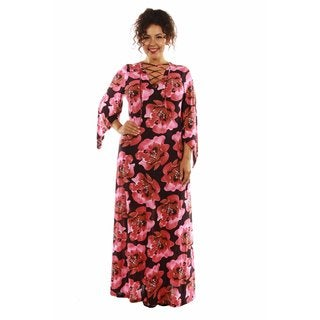 24/7 Comfort Apparel Women's Plus Size Bewitching Floral Lace-up Maxi Dress Caftan