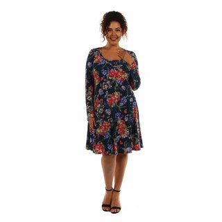 24/7 Comfort Apparel Women's Slim and Pretty Plus Size Floral Midi Dress