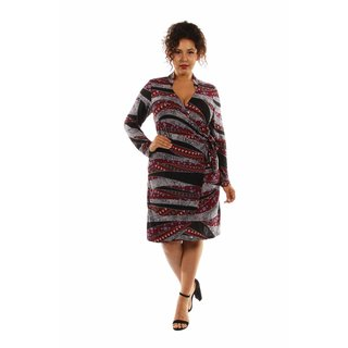 24/7 Comfort Apparel Women's The Perfect Print Faux Wrap Plus Sized Dress