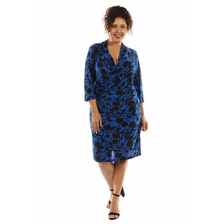 24/7 Comfort Apparel Women's Alluring Blue Ocean Midi Faux Wrap Dress Plus Size