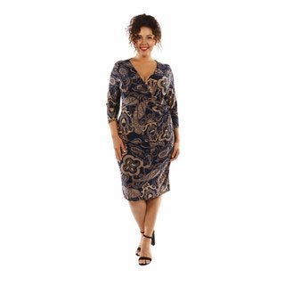 Dreamy Print Midi Plus Sized Dress