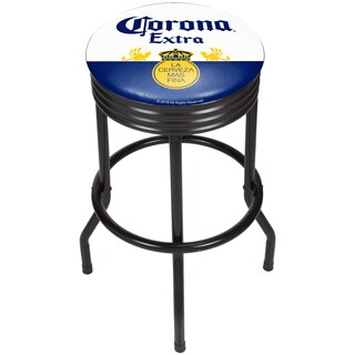 Corona Black Ribbed Bar Stool - Label