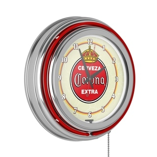 Corona Chrome Double Rung Neon Clock - Vintage