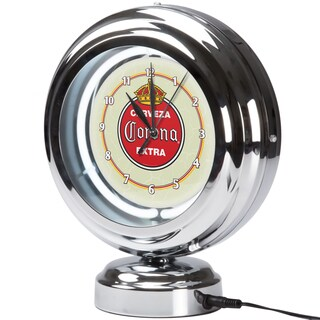 Corona Chrome Retro Style Tabletop Neon Clock - Vintage