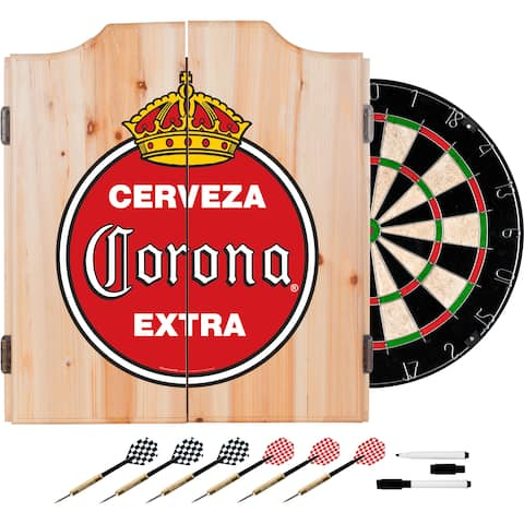 Corona Dart Cabinet Set with Darts and Board - Vintage