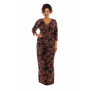 Stunning and Silky Bamboo Print Maxi Dress Plus Size