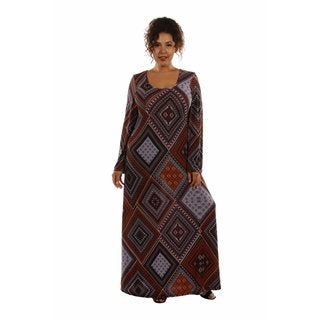 Queen Bee Patterned Plus Size Maxi Dress