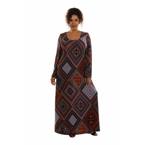 Shop Queen Bee Patterned Plus Size Maxi Dress - Free Shipping On ...