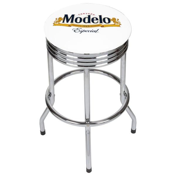 Modelo Chrome Ribbed Bar Stool