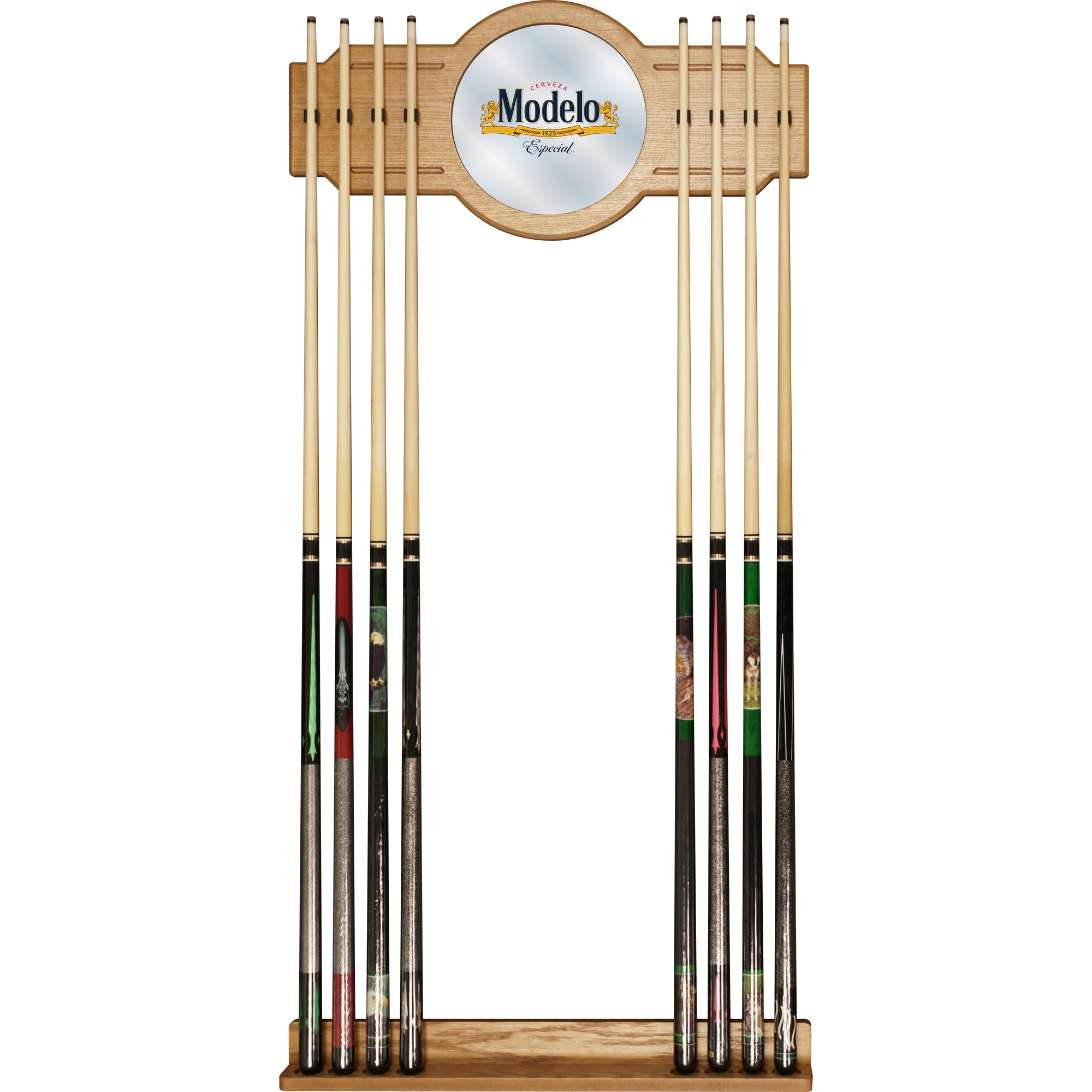 Trademark Modelo Stained Wood Cue Rack with Mirror (4L x ...
