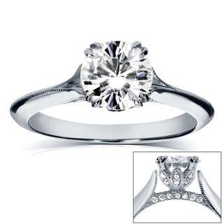 Annello by Kobelli 14k White Gold IGI Certified 1 1/10ct Diamond Eco-Friendly Lab Grown Diamond Tulip Engagement Ring