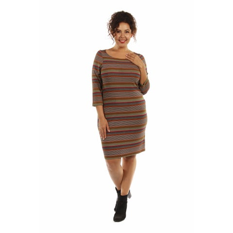 24/7 Comfort Apparel Women's Irresistible Striped Plus Size Silky Dress
