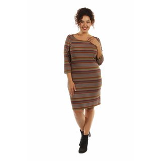 24/7 Comfort Apparel Women's Irresistible Striped Plus Size Silky Dress (3 options available)