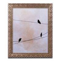 Nicole Dietz 'Bird on Wire White' Ornate Framed Art