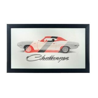 Dodge Logo Mirror - Challenger Stripes
