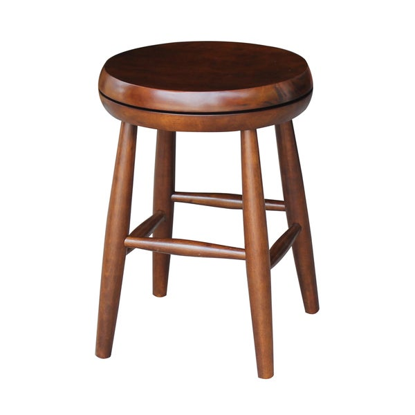 Shop Brown Wood Swivel Scoop Seat Stool Free Shipping