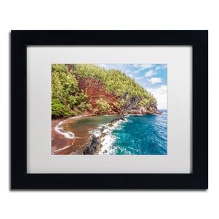 Pierre Leclerc 'Red Sand Beach Maui' Matted Framed Art