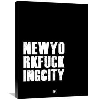 Naxart Studio 'NEWYORKFUCKINGCITY Poster Black' Stretched Canvas Wall Art