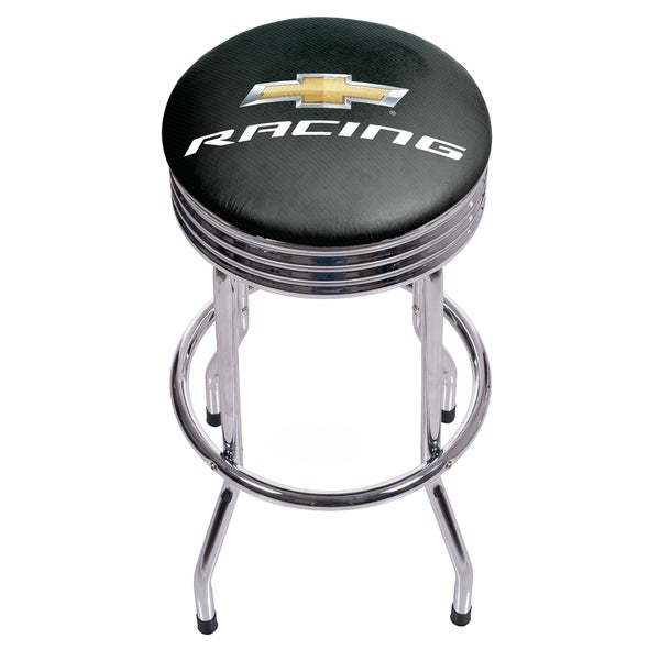 Chevrolet Chrome Ribbed Bar Stool - Racing