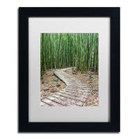 Pierre Leclerc 'Hiking Through the Bamboo Forest' Matted Framed Art