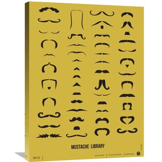 Naxart Studio 'Mustache Library Poster' Stretched Canvas Wall Art