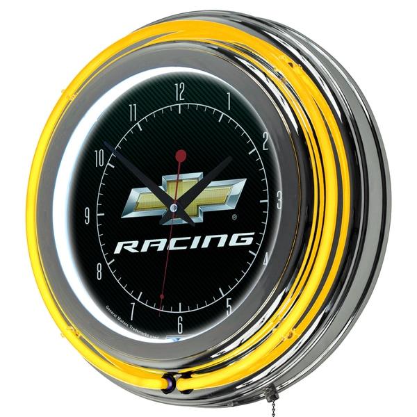 Chevrolet Chrome Double Rung Neon Clock - Racing