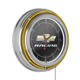Chevrolet Chrome Double Rung Neon Clock - Racing