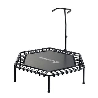 Upper Bounce 50-inch T-shaped Adjustable Hand Rail Bungee Cord Suspension Hexagonal Fitness Mini-trampoline (Option: Black)