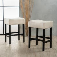 Shop Lopez 30 Inch Beige Fabric Backless Barstool Set Of