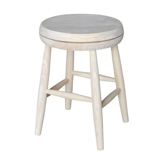 Tan 18-inch Swivel Scooped-seat Stool