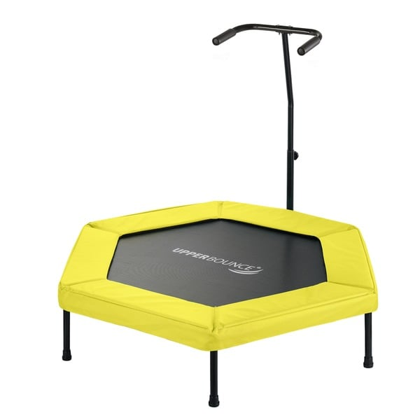 Upper Bounce Yellow 50-inch Hexagonal Fitness Mini-trampoline with T-shaped Adjustable Hand Rail