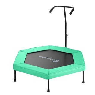 Upper Bounce Green 50-inch Hexagonal Adjustable Hand Rail Fitness Mini-trampoline
