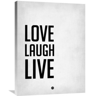 Naxart Studio 'Love Laugh Live Poster Grey' Stretched Canvas Wall Art