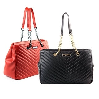 Suzy Levian Chevron Top Handle Shoulder Handbag