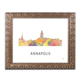 Marlene Watson 'Annapolis Maryland Skyline WB-1' Ornate Framed Art