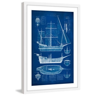 Marmont Hill - 'Ship Blueprint I' Framed Painting Print