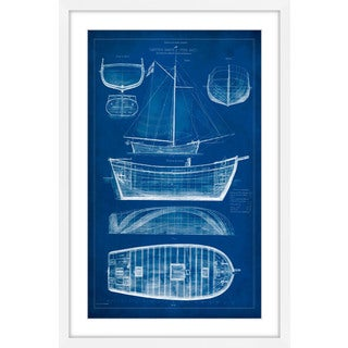 Marmont Hill - 'Ship Blueprint II' Framed Painting Print