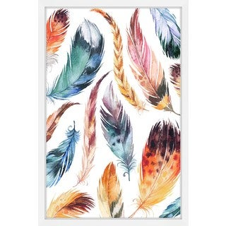 Marmont Hill - 'Feather Collage II' by Melanie Clarke Framed Painting Print