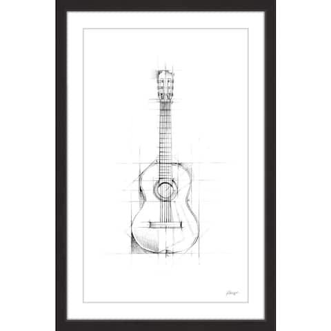 Marmont Hill - Handmade Guitar Sketch Framed Print