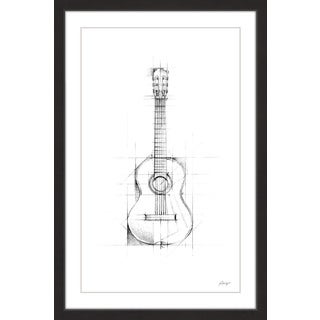 Marmont Hill - 'Guitar Sketch' Framed Painting Print