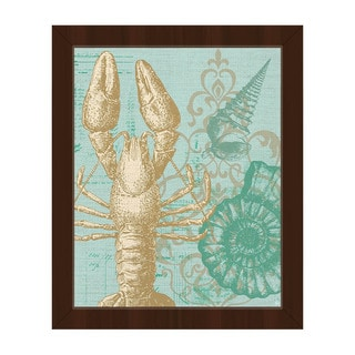 Damask Lobster' Green Framed Canvas Wall Art