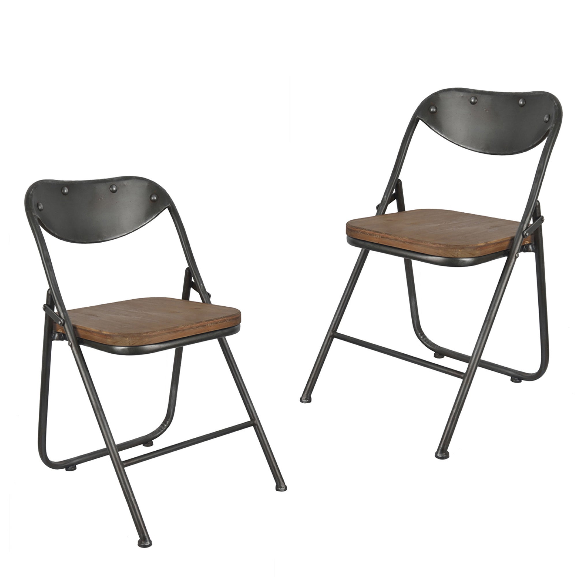 Decor Therapy Vintage Wood Seat Folding Chairs Set Of 2