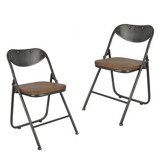Decor Therapy Vintage Wood Seat Folding Chairs (Set of 2)