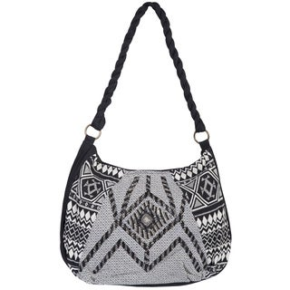 Scully Black/Cream Cotton Beaded Shoulder Handbag